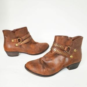 ANA Addie brown faux leather buckle ankle booties